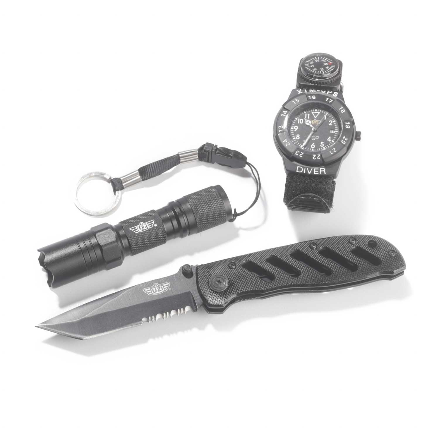 UZI Special Forces Watch, Knife and LED Flashlight Combo