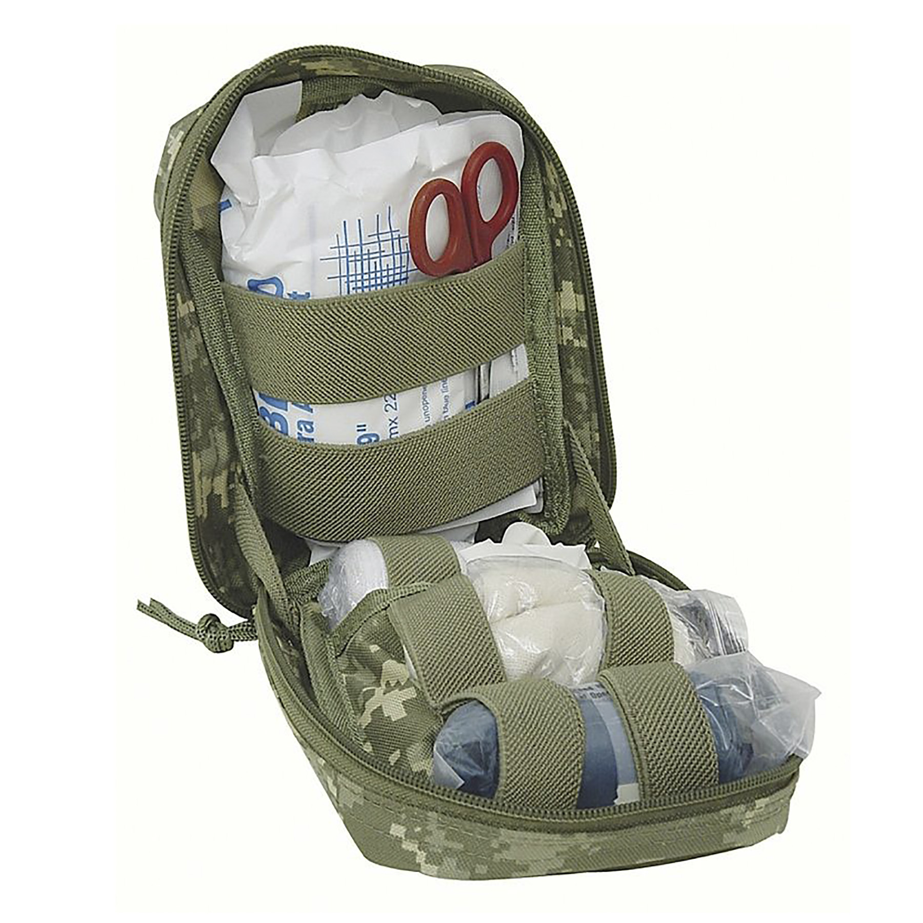 Fully Stocked MOLLE Trauma Kit First Aid Pouch (Coyote)